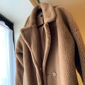 Misguided teddy long borg coat